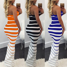 Load image into Gallery viewer, Women Summer dress Casual Maxi vestido de renda Long Dress Beach Stripped sleeveless dresses women Bodycon Party Maxi Dress - Y O L O Fashion Store