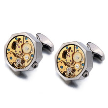Load image into Gallery viewer, Hot Watch Movement Cufflinks for immovable Stainless Steel Steampunk Gear Watch Mechanism Cuff links for Mens Relojes gemelos - Y O L O Fashion Store