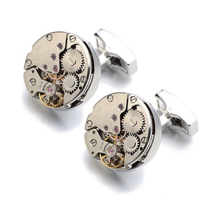 Hot Watch Movement Cufflinks for immovable Stainless Steel Steampunk Gear Watch Mechanism Cuff links for Mens Relojes gemelos - Y O L O Fashion Store