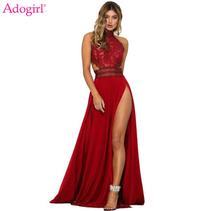 Adogirl Women Sexy Sheer Lace High Slit Maxi Evening Party Dresses Backless Summer Beach Dress Female Night Club Long Vestidos - Y O L O Fashion Store