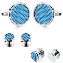 Load image into Gallery viewer, HAWSON Blue Carbon Fiber Cufflinks Wedding Ceremony Tuxedo Cufflinks Set For Groom with Luxury Box - Y O L O Fashion Store