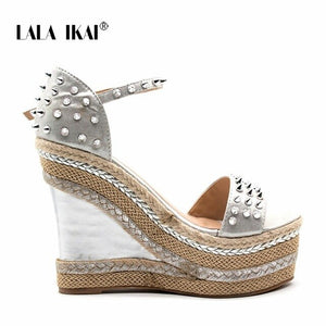 LALA IKAI Buckle Open Toe Wedge Sandals High-heeled Shoes Woven Platform Rivet Sandals Fashion Summer Shoes Women 014C1332 -4
