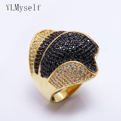 Stunning Luxury jewellery black crystal big ring bijuteria feminina fashion Jewelry White and Gold color large Ring's for party