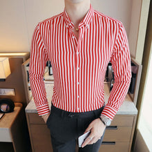 Load image into Gallery viewer, Men's Contrast Vertical Striped Dress Shirts High-quality Comfortable Cotton Long Sleeve Slim-fit Smart Casual Button-down Shirt