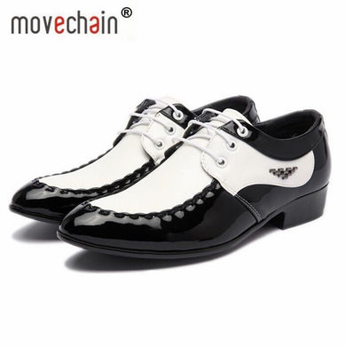 Fashion Men's Leather Lace-Up Dress Office Shoes Man Wedding Party Business Flats Mens Black / White Split Derby Shoe Size 38-47