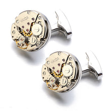 Load image into Gallery viewer, Lepton Watch Movement Design Cufflinks Stainless Steel Steampunk Gear Watch Mechanism Cuff links for Mens Relojes gemelos - Y O L O Fashion Store