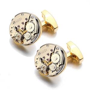 Lepton Watch Movement Design Cufflinks Stainless Steel Steampunk Gear Watch Mechanism Cuff links for Mens Relojes gemelos - Y O L O Fashion Store