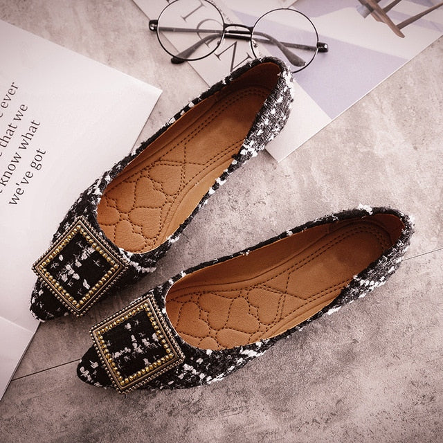 Fashion Boat Shoes Women Pointed toe Office Ladies Flat Footwear Elegant Women's Flats Luxury Brand Plus Size 10 A057 - Y O L O Fashion Store