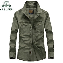 Load image into Gallery viewer, AFS JEEP Brand Military Army Shirt Men 2018 Spring Autumn 100% cotton Long Sleeve Mens Shirts Plus Size S-4XL Camisa Masculina - Y O L O Fashion Store