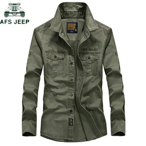 AFS JEEP Brand Military Army Shirt Men 2018 Spring Autumn 100% cotton Long Sleeve Mens Shirts Plus Size S-4XL Camisa Masculina - Y O L O Fashion Store