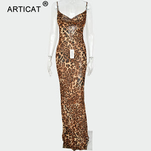 Articat Sexy V Neck Leopard Party Dress Women Spaghetti Strap Backless Slim Maxi Dress Summer Chiffon Long Beach Dress Vestidos - Y O L O Fashion Store
