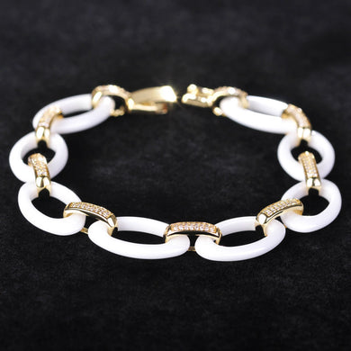 Dazz Luxury White Oval Ceramic Bangle Bracelet For Women Man Gold Silver Color Fine Zircon Stone Porcelain Wrist Pulsera Jewelry