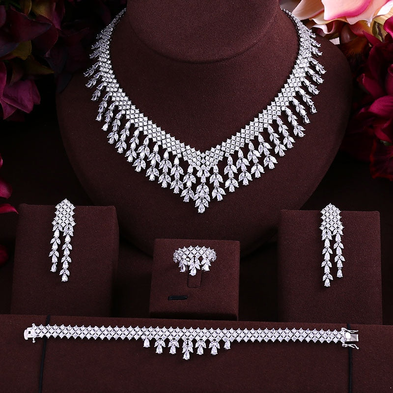 wedding Luxury cubic zirconia tassel bride necklace ,drop earrings ,bracelet and ring 4pcs dubai full jewelry set for bridal