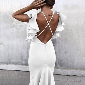 Celebrity Party Dress Summer Women Dress Vestidos Verano White Butterfly Sleeveless Backless Mermaid Pencil Dresses - Y O L O Fashion Store