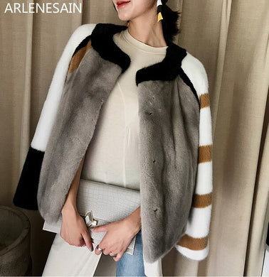 Arlenesain custom Mink coat women's overall short imported mink fur coat crown velvet Haining mink