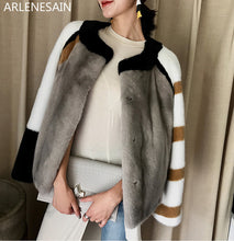 Load image into Gallery viewer, Arlenesain custom Mink coat women's overall short imported mink fur coat crown velvet Haining mink