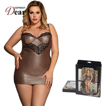 Load image into Gallery viewer, Comeondear Chemise Sexy Night Lingerie For Woman Satin Straps Plus Size Sleepwear Lace Skinny Night Dress Women Langerie RB80278 - Y O L O Fashion Store