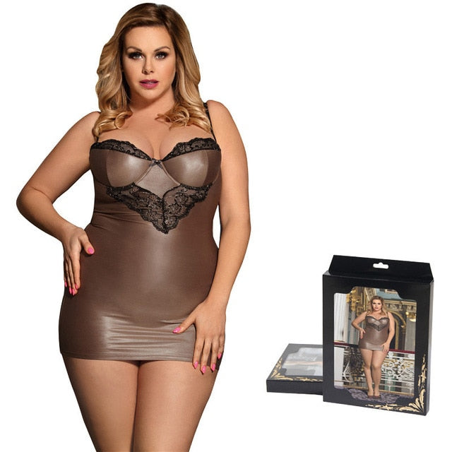 Comeondear Chemise Sexy Night Lingerie For Woman Satin Straps Plus Size Sleepwear Lace Skinny Night Dress Women Langerie RB80278 - Y O L O Fashion Store
