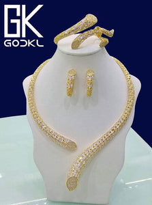 GODKI Luxury Geometry Cubic Zirconia Nigerian Jewelry sets For Women wedding Indian DUBAI Bridal Jewelry Set parure bijoux femme - Y O L O Fashion Store