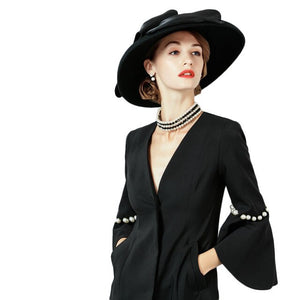 FS 2018 100% Wool Felt Women Fedoras British Hats Large Wide Brim Winter Black Church Hat Bowler Cloche Cap Sombrero Mujer - Y O L O Fashion Store