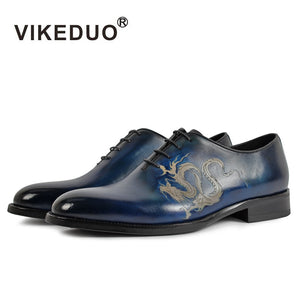 Vikeduo Brand New Fashion Oxford Shoes For Men Pattern Painting Male Genuine Leather Shoe Formal Wedding Office Zapatos Hombre