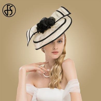 FS Elegant Ladies Fascinators Hats For Weddings Sinamay Cocktail Hat With Flowers Women Church Dress Kentucky Derby Fedoras - Y O L O Fashion Store