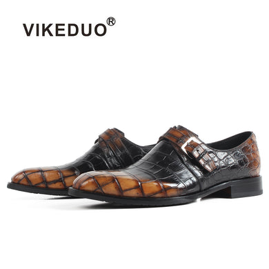 Vikeduo New Men's Crocodile Leather Shoes Classic Plaid Male Formal Dress Shoe Handmade Derby shoes