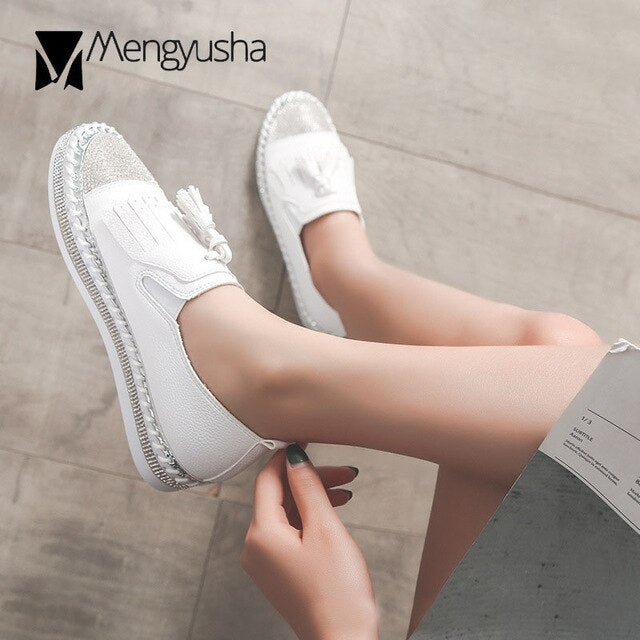 Tassel Espadrilles Shoes Ladies Women Genuine Leather Oxford Shoes Bling Bling Crystal Fishermen Shoes Patchwork Flats Moccasins - Y O L O Fashion Store
