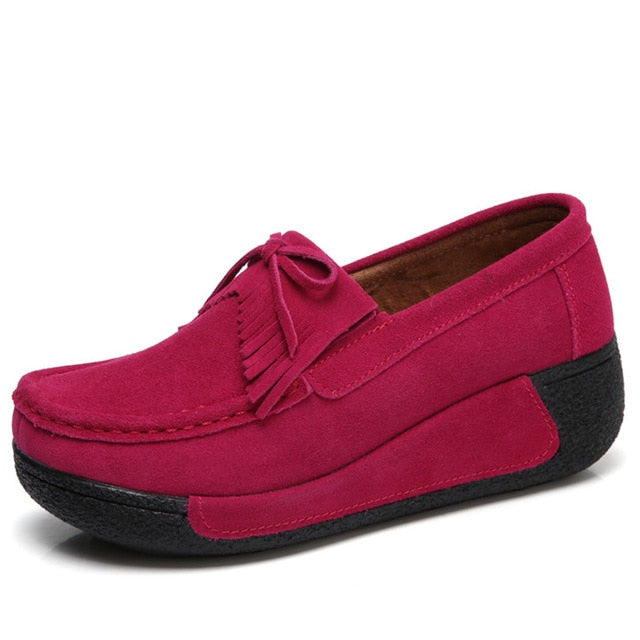 Shoes Woman Genuine Leather Women Flats Slip On Womens Loafers Female Moccasins Shoe Plus Si Red