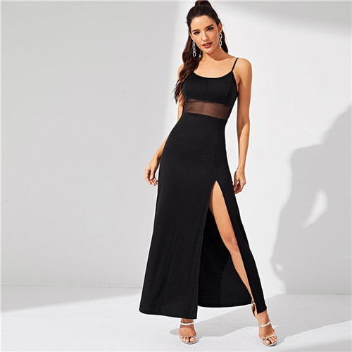 SHEIN Black Split Solid Cami Stretchy Spaghetti Strap Bodycon Long Dress Women Summer Sleeveless Going Out Casual Dresses - Y O L O Fashion Store