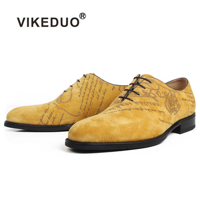 VIKEDUO Genuine Cow Suede Oxford Dress Shoes Men Yellow Flat Letter Laser Wedding Office Handmade Shoes Formal Zapato de Hombre