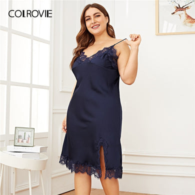 COLROVIE Plus Size Navy Contrast Lace Split Side Satin Cami Night Dress 2019 Spring Fashion Ladies Sleeveless Sexy Nightgowns - Y O L O Fashion Store