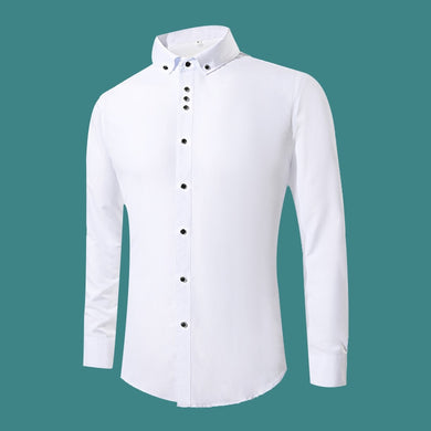 2018 New Fashion White Dress Shirts Men Long Sleeve Casual White Formal Shirt Men Slim Fit Wedding Shirt Male Clothing Tops - Y O L O Fashion Store