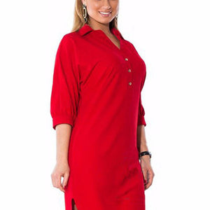 New 2019 Big Size 6XL Woman Dress Autumn Solid Sexy Split Irregular Shirt Dresses Plus Size Long sleeve Women Clothing 6xl dress