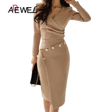 Load image into Gallery viewer, ADEWEL Casual White Bodycon Pencil Office Work Dress Women Long Sleeve V-Neck Button Ruched Party Midi Gown Asymmetrically Dress - Y O L O Fashion Store