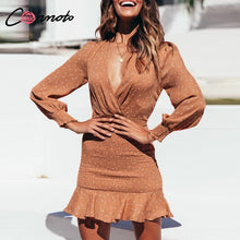 Load image into Gallery viewer, Conmoto Long Sleeve Sexy Dress Women Robe Femme Winter Party Dress Casual Short Ruffles Twist Bodycon Dresses Vestidos - Y O L O Fashion Store
