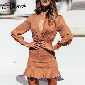 Conmoto Long Sleeve Sexy Dress Women Robe Femme Winter Party Dress Casual Short Ruffles Twist Bodycon Dresses Vestidos - Y O L O Fashion Store
