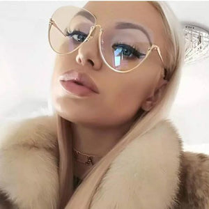 2018 Fashion Half Frame Round Glasses Women Transparent Vintage Large Eyeglasses Gold Frames Clear Lens Glasses Men Lady Eyewear - Y O L O Fashion Store