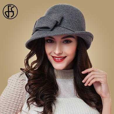 FS Elegant Bowknot Ladies Wool Felt Bowler Black Red Fedora Hats For Women Wide Brim Vintage Floppy Winter Church Cloche Hats - Y O L O Fashion Store
