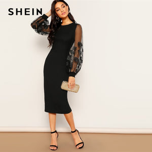 SHEIN Black Embroidery Mesh Insert Stretchy Bishop Sleeve Fitted Knee Length Bodycon Dress Women 2019 Spring Sheath Dresses - Y O L O Fashion Store