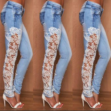 Women Stretch Lace Floral Side Spliced Denim Trousers Hollow Out Slim Pencil Pants Women Jeans Femme Pantalo - Y O L O Fashion Store