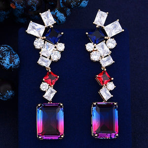 GODKI Trendy Luxury Geometric CZ Cubic Zircon Tassel Dangle Earrings for Women Wedding Long Earrings pendientes mujer moda 2018 - Y O L O Fashion Store