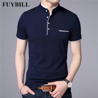 FuyBill Mandarin Collar Short Sleeve Tee Shirt Men 2018 Spring Summer New Style Top Men Brand Clothing Slim Fit Cotton T-Shirts