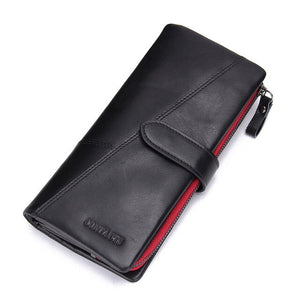 CONTACT'S genuine leather men's long wallet with phone bag zipper coin pocket purse male clutch wallets for men portfel small - Y O L O Fashion Store