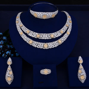 GODKI Luxury Double Layers Nigerian Bridal Jewelry Sets For Women Cubic Zirconia Crystal CZ Dubai Indian Gold  jewelry Sets 2018 - Y O L O Fashion Store
