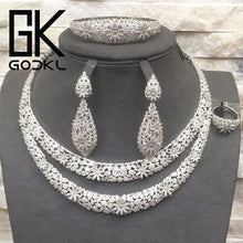 Load image into Gallery viewer, GODKI Luxury Double Layers Nigerian Bridal Jewelry Sets For Women Cubic Zirconia Crystal CZ Dubai Indian Gold  jewelry Sets 2018 - Y O L O Fashion Store