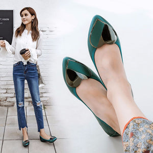 Luxury Shoes Women Designers Flats Casual Boat Shoes Fashion Loafers Metal Decoration Pointed Low-cut Slip-on Ladies Shoes 34-41