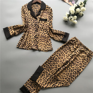 2019 Summer Women Pajamas Sets With Pants Silk Homewear Satin Leopard Print Sexy Pijama Long Sleeve Pyjamas Thin Sleepwear - Y O L O Fashion Store