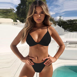 Hirigin Thong Bikini Set 2019 New Women Swimwear Pure Color Push Up Padded Swimsuit Biquini Women Bathing Suit Summer Beachwear - Y O L O Fashion Store
