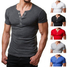 Load image into Gallery viewer, Henley T Shirt Men 2019 Summer Fashion V Neck Short Sleeve Tee Shirt Homme Casual Slim Fit Metal Button Design Mens T-shirts XXL